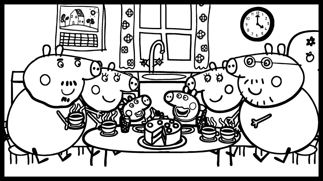Coloring: Delicious Cake For The Pig Family