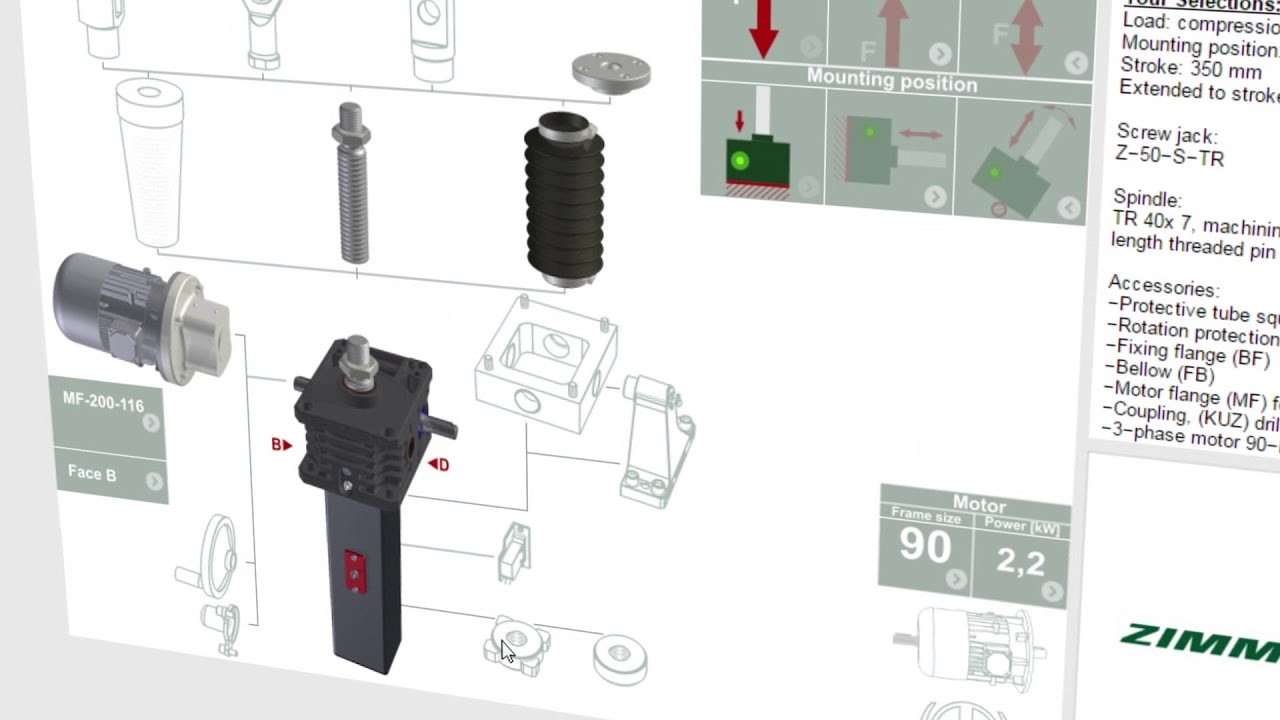 Product configurator for screw jack systems – ZIMM