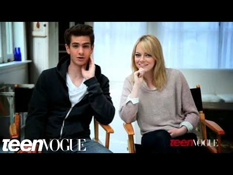 Emma Stone and Andrew Garfield on set at their Teen Vogue photoshoot