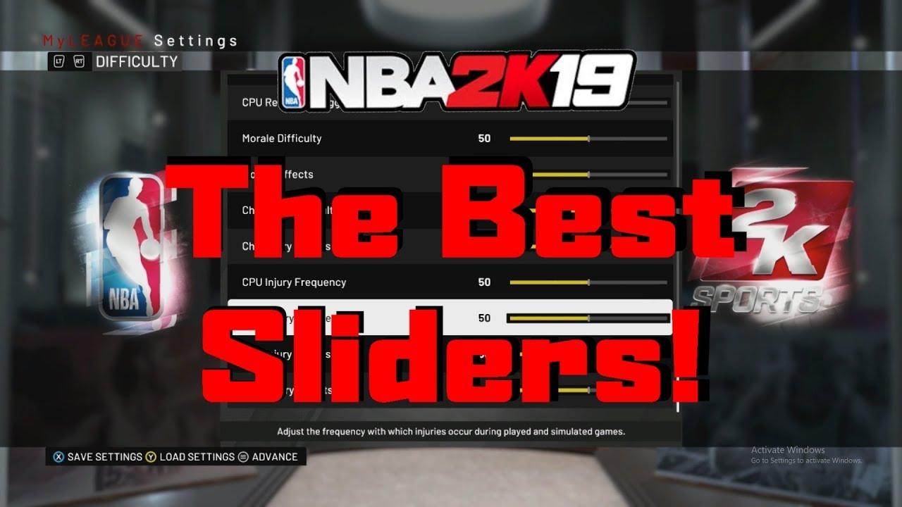 THE BEST NBA 2K19 MYLEAGUE SLIDERS