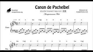 Canon de Pachelbel en Re Partitura de Piano (Melodía y Acompañamiento Fácil)