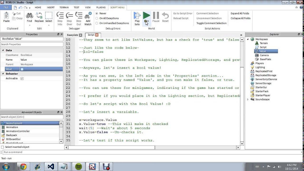 Roblox Scripting Tutorial : Bool Values
