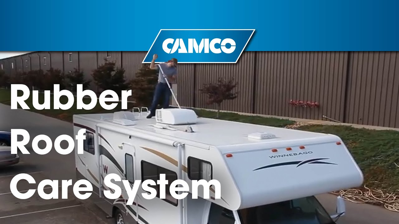 camco s pro tec rv rubber roof care system youtube