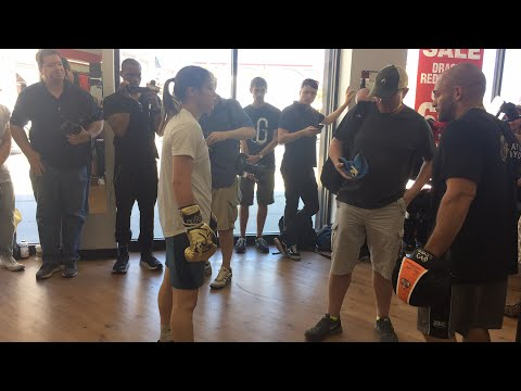 Katie Taylor and  Broner vs Garcia undercard workout -