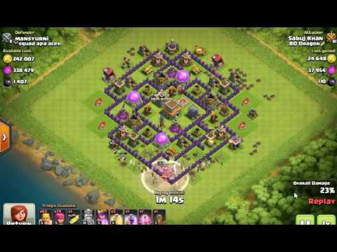 Clash Of Clans: Town Hall 8 Barbarians & Archers Attack Strategy