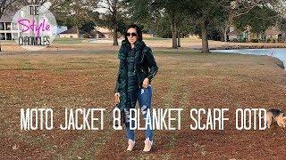 Green Moto Jacket & Blanket Scarf OOTD
