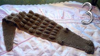 Как связать детский шарф Крокодильчик (Крокодил) спицами часть 3