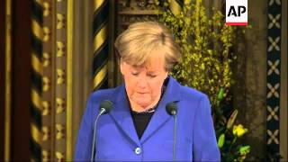 Germany Chancellor Merkel addresses UK parliament