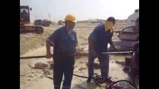New Suez Canal, Egypt: the moment of the appearance of water in drilling 2014