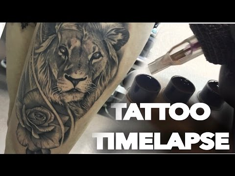 TATTOO TIME LAPSE | LION AND REALISTIC ROSE PORTRAIT | CHRISSY LEE TV