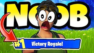 NOOB GETS FIRST VICTORY ROYALE EVER! *Fortnite*