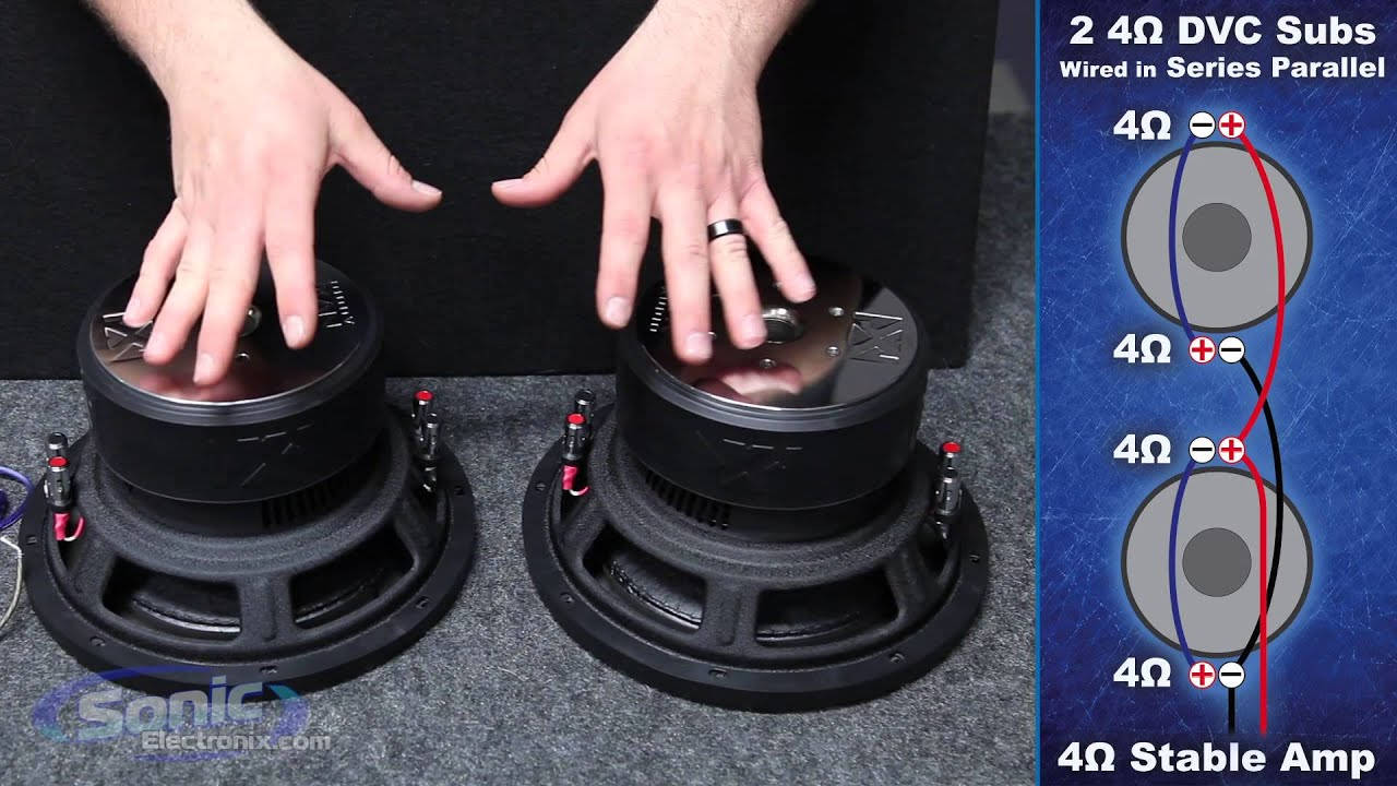 how to wire two dual 4 ohm subwoofers to a 4 ohm final impedance car audio 101 [ 1280 x 720 Pixel ]