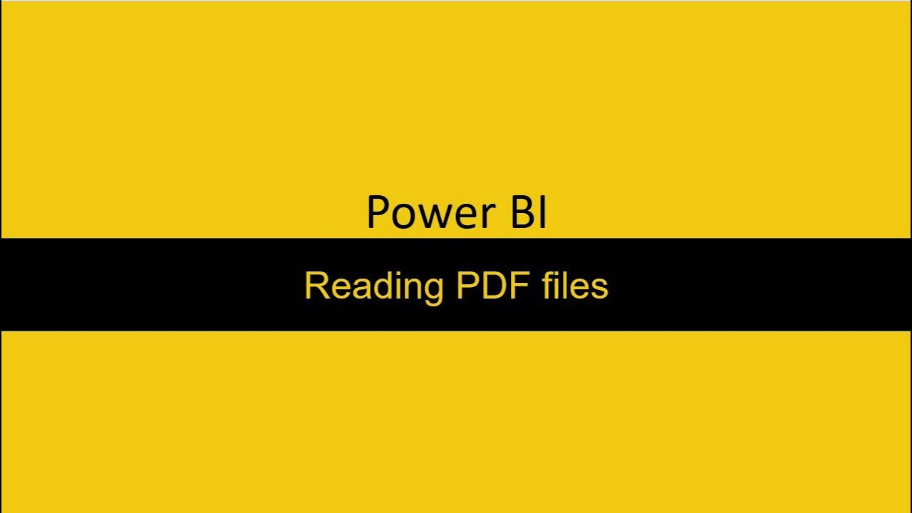 Reading Data from a pdf file Power BI