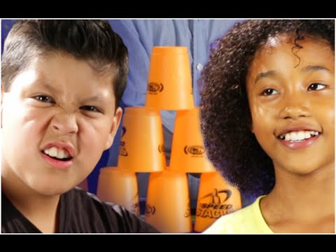 Kids Try The Cup Stacking Challenge