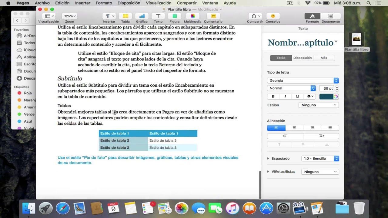 Como crear un libro usando Pages en Mac Os X El capitan