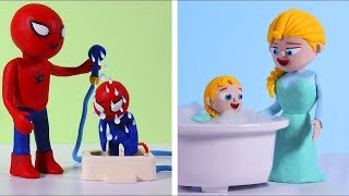 Dad and mom shower the children  💗 Cartoons For Kids