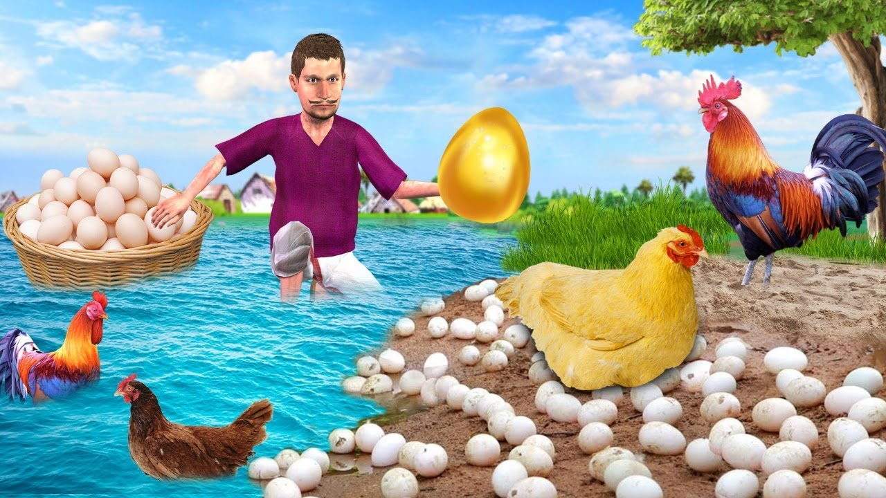 आदिवासी चिकन सुनहरा अंडा शिकार Primitive Chicken Golden Eggs Hunting Hindi New Comedy Video 2021