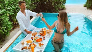 Maldives. Heavenly Breakfast on Water. Surprise for a Husband