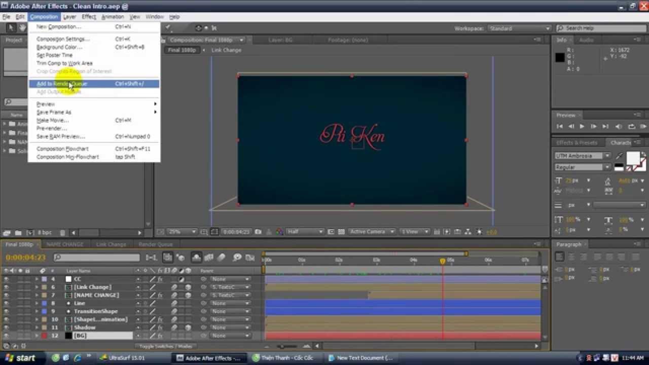 Hướng Dẫn Cách Xuất Video (Render) Trong After Effect cs4 Vừa Nhẹ Vừa Nét - YouTube
