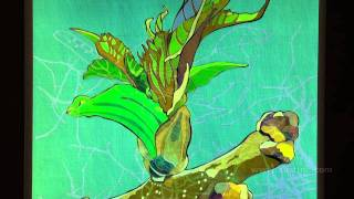 """Bud and Bird"" - Animated  Liquid Crystal Polarized Light Polage Painting by Austine Wood Comarow"