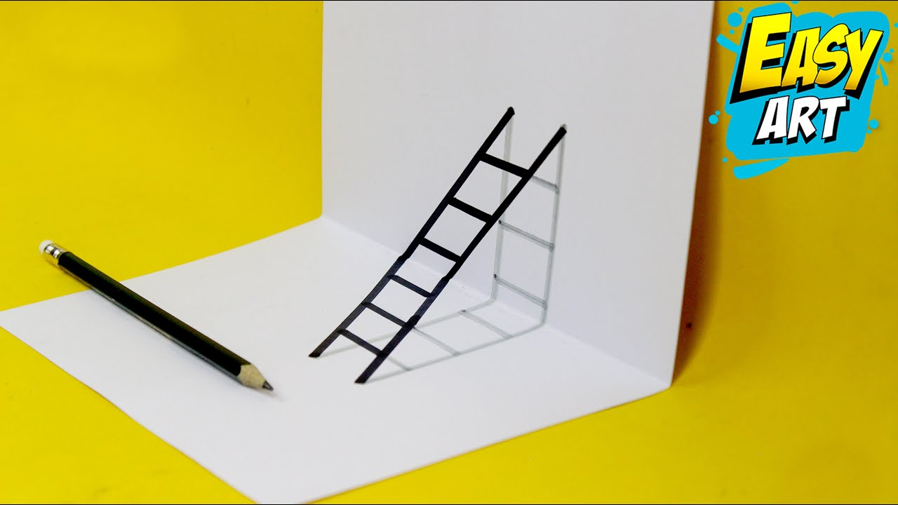 Dibujos 3D - Como Dibujar una Escalera 3D - Drawing 3D -  How to Draw Ladder 3D - Easy Art