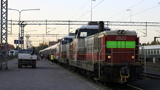 Night express trains, IC49 and an express train at Oulu railway station [FullHD]