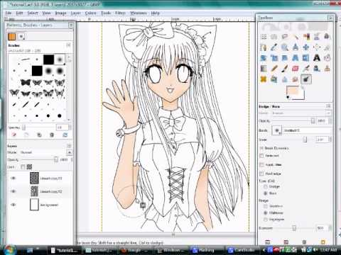 Coloring Anime Drawings On Gimp Part 2 Skin Youtube