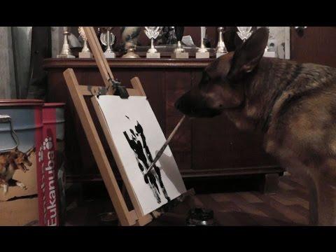 """Каниграфия"" ( circus training: the dog paints a picture )."