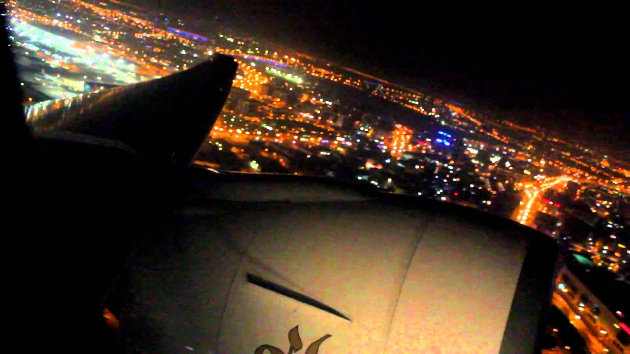 Night Emirates Take Off Dubai