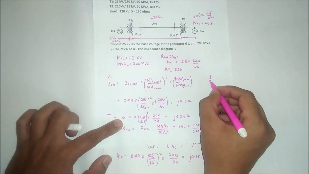 Solving Per Unit System Numerical And Impedance Diagram In