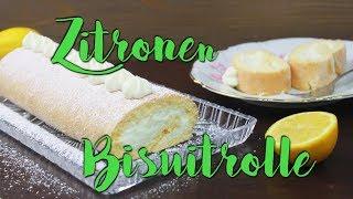 ZITRONEN BISKUITROLLE BACKEN [mit Quark & Joghurt] | Lemon Swiss Roll Rezept | ohne Gelatine