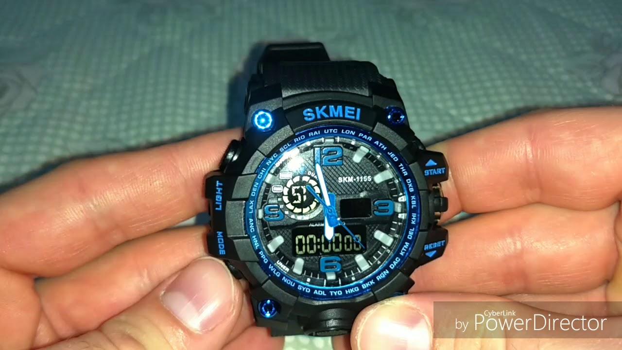 6354ba398b4 Relógio Masculino Skmei 1155 Anadigi Azul Original Casual Esporte ...