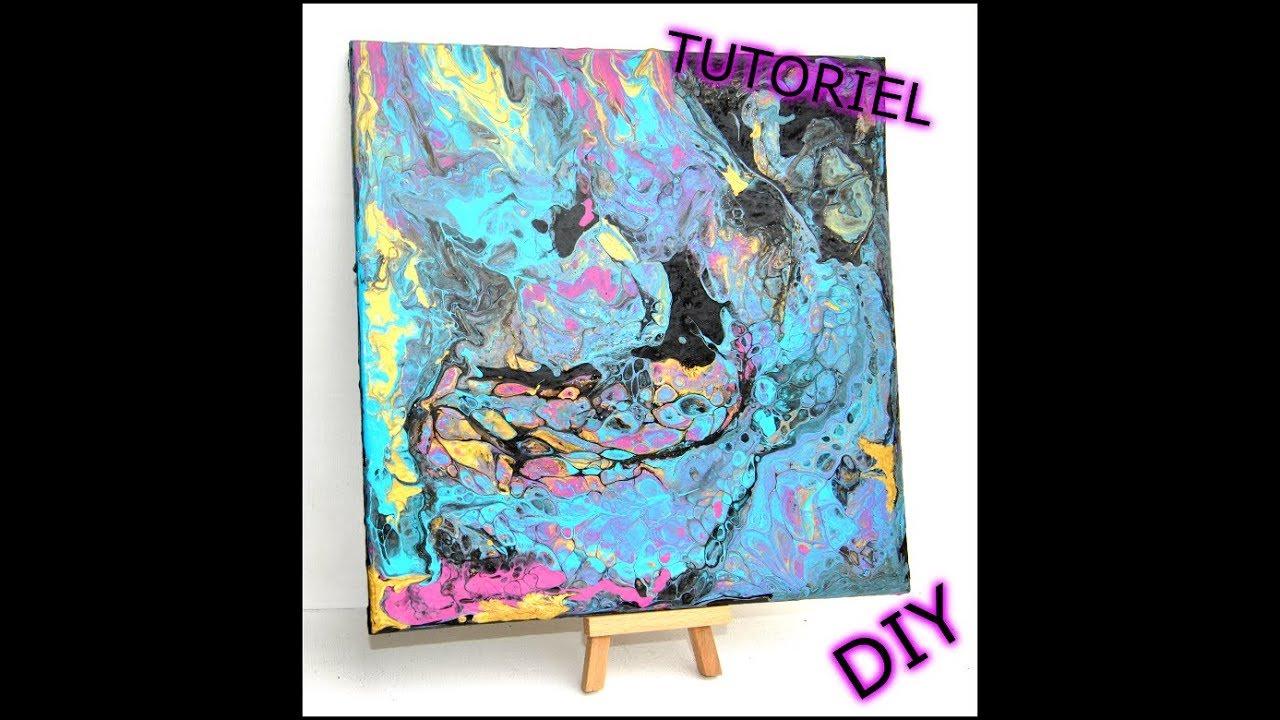 Pouring Peinture Acrylique Et Medium De Lissage Et Silicon Youtube