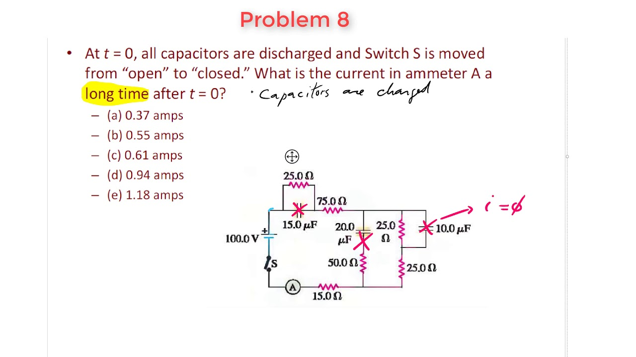 rc circuits problem 8 finding current after a long time youtube rh youtube com