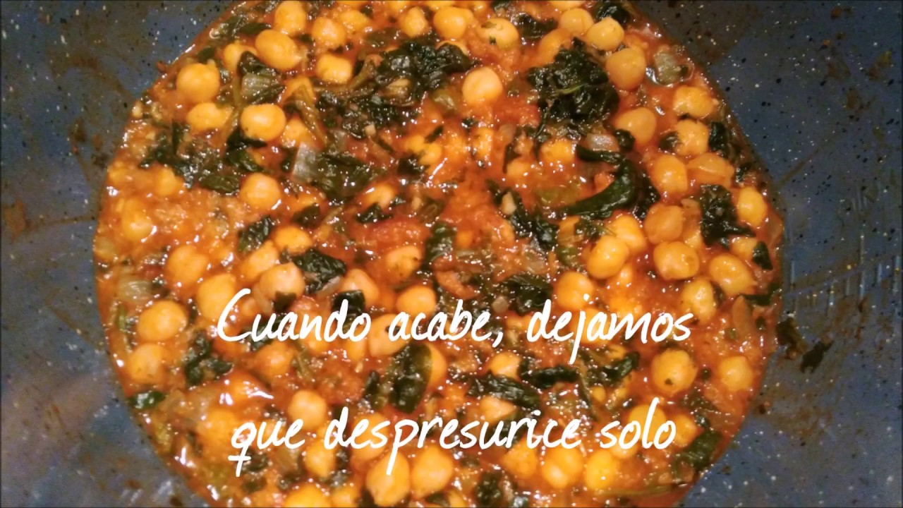 Garbanzos con espinacas express en olla gm youtube - Garbanzos olla express ...
