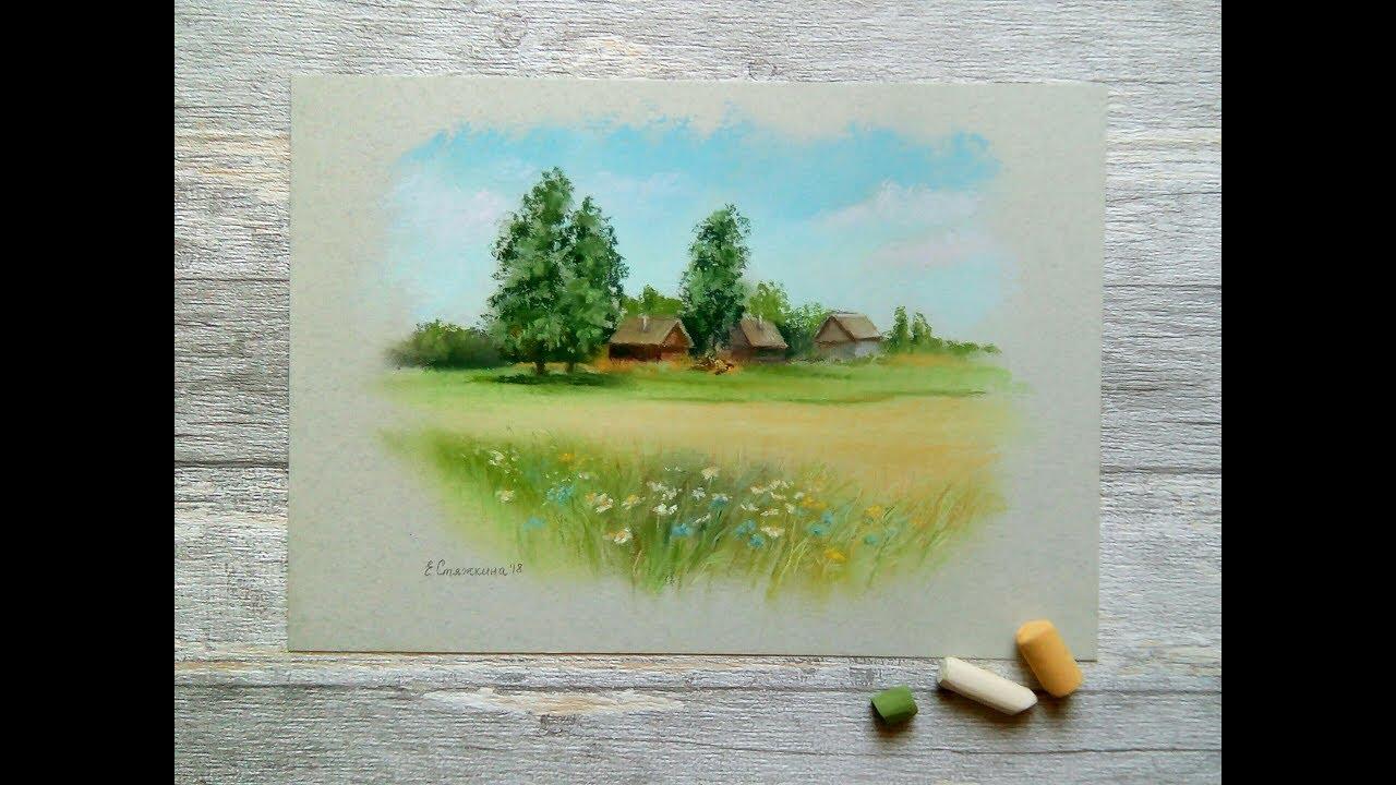 Пейзаж пастелью видео блестящая