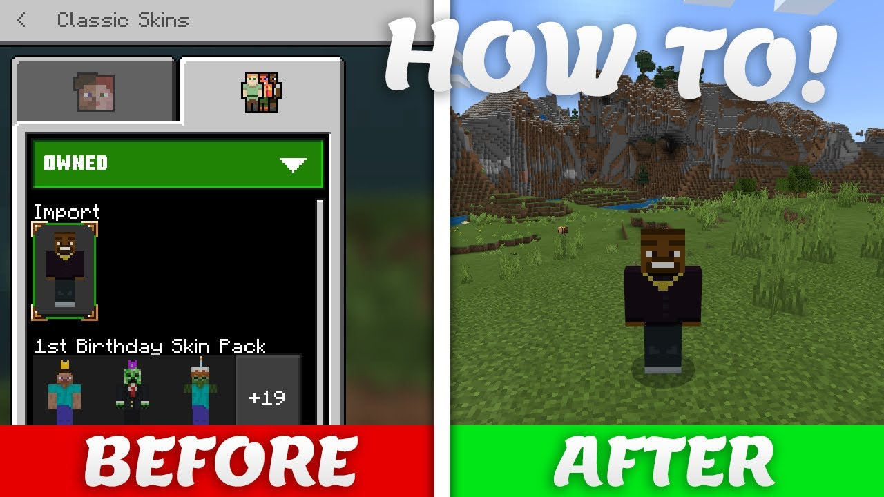 How To Use Custom Skins On Minecraft Bedrock Edition Youtube