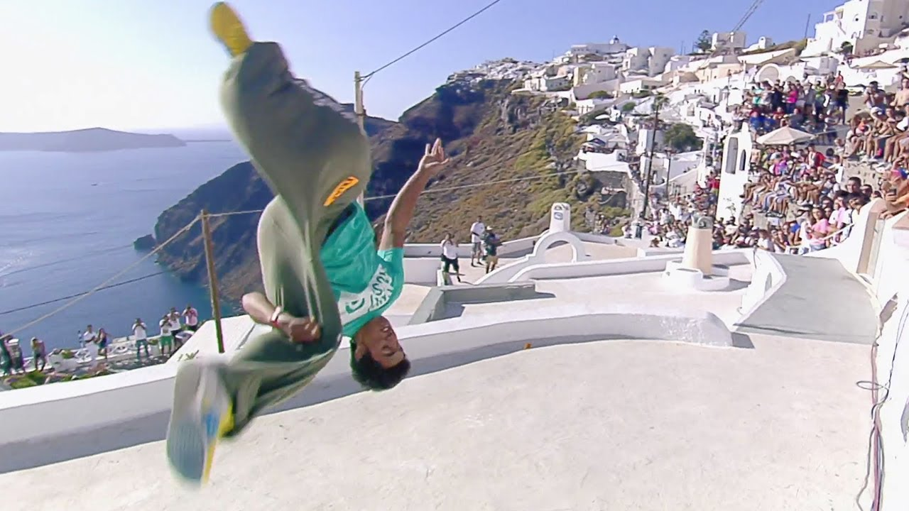 Freerunning On The Iconic Rooftops Of Santorini