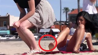 Funny Pee On People (with bottle) Prank - Beach Edition