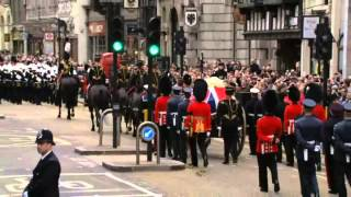 Repeat youtube video Margaret Thatcher's funeral - Ding Dong, The Witch is Dead!