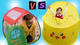 캠핑에는 이런 텐트가 완전 좋아요?!! 서은이의 피카츄 텐트 캠핑 놀이 똘똘이 핑크퐁 Poketmon Pikachu Tent Camping Toys