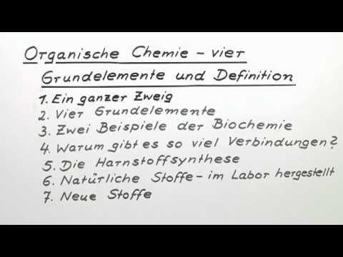 Organische Chemie Vier Grundelemente Und Definition Chemie Organische Chemie