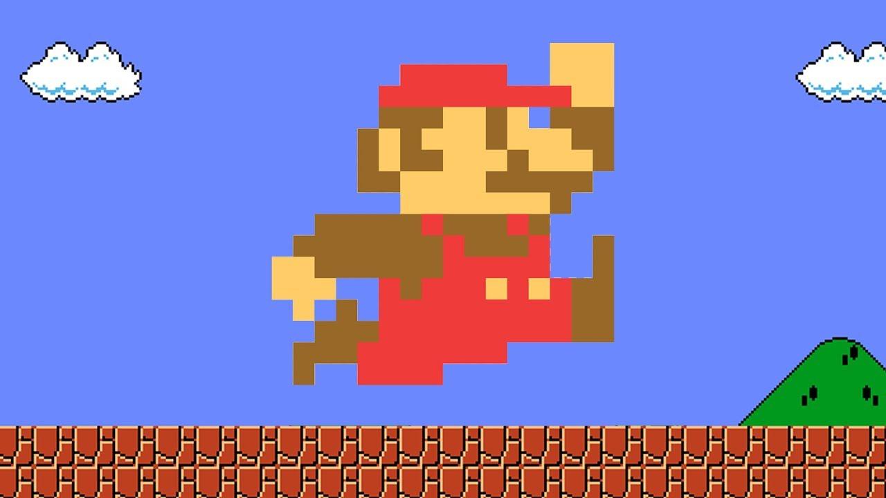Super mario bros videogames character colored retro and small.