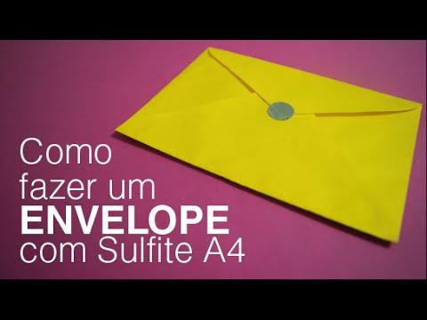 Fabuloso Como Fazer um ENVELOPE em sulfite A4 - YouTube MF49