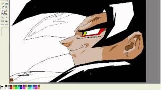 How to draw Goku ssj4 with paint