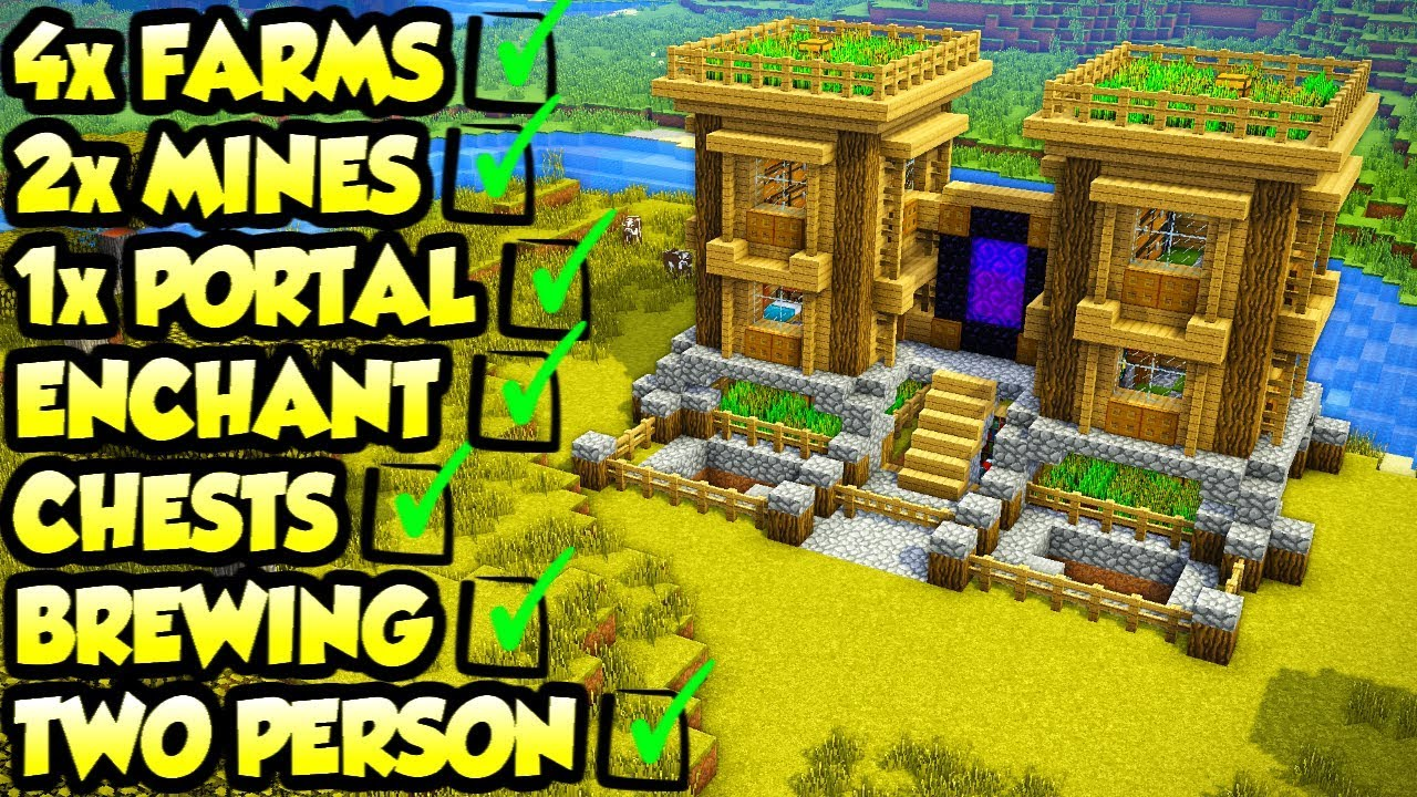 Minecraft 2 Player Survival House Tutorial How To Build Youtube