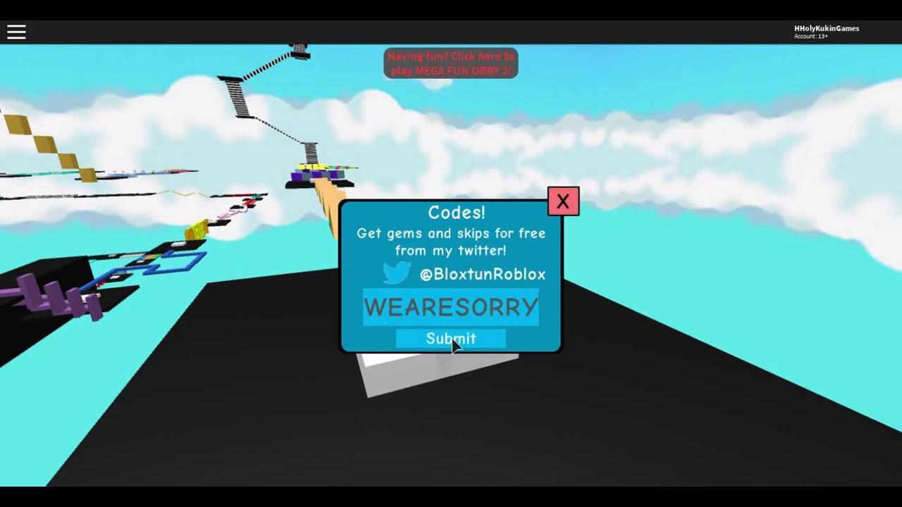 Roblox Mega Fun Obby Hholykukingames Has A Code Youtube