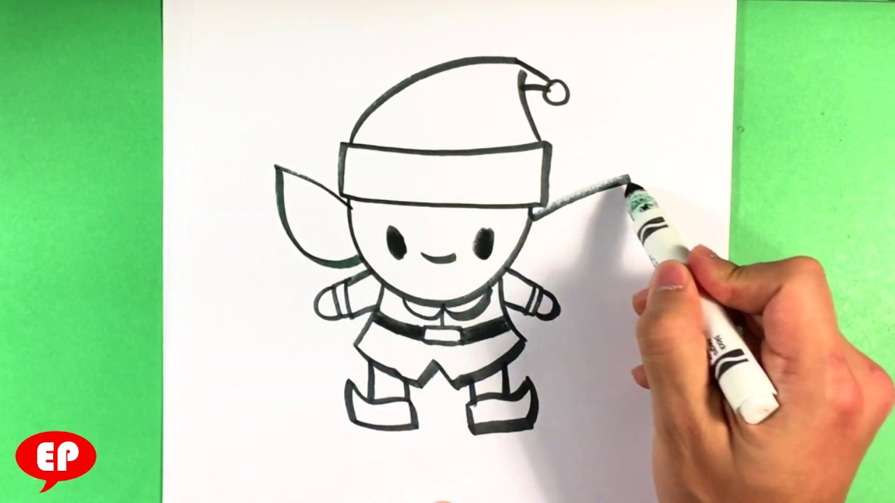 How to Draw a Cute Elf , Christmas Drawings , Step by Step for Beginners ,  Easy Pictures to Draw