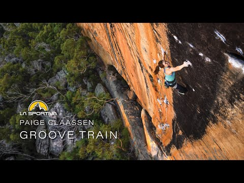 Paige Claassen climbs Groove Train (8c)
