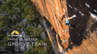 Paige Claassen sends Groove Train (5.14b//8c), one of Australian's most iconic sport climbs